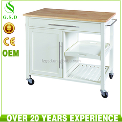 wholesale high quality white mdf hotel room service trolley design