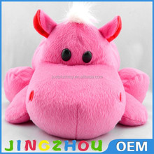 Peach hippo plush toy supersoft plush fleece fabric stuffed plush toy hippo