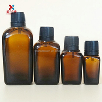 Square Amber Essential Oil Bottles With Plastic Caps