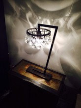 OR300T Gorgeous Murano Glass Table Lamp Custom-Made Ochre Clear Round Murano Glass Drop,