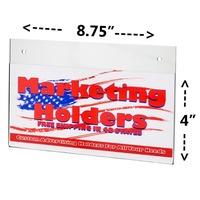 "Clear Custom Acrylic 8 3/4"" w x 4"" h Wall Mount Ad Frame Sign Holder Display"