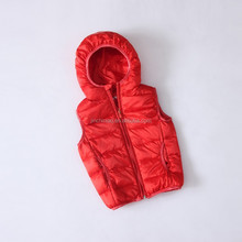Children's down vest with big hood