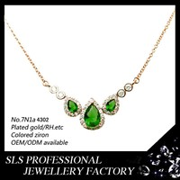 2015 fashion emerald jewelry for teenager silver gemstone necklace