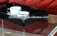 Plexiglass black high quality cafeteria serving tray--custom is available