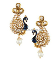 Ethnic stone with Faux Pearl indian peacock designer earrings