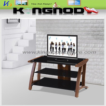 three tier black tempered glass and wood mdf frame living room bed home furniture tv stand/tv table/tv cabinet