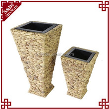 SD Set of Two handmade water hyacinth coated big capacity decoration garden flower pot