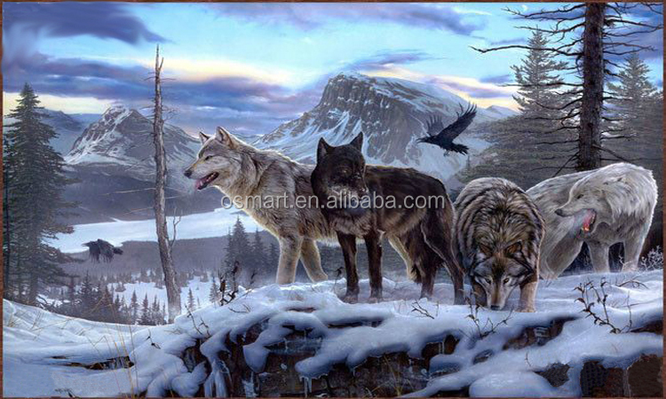 Wolf Oil Painting