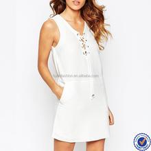 women fashion cheap casual plain white dress lace up eyelet dresses in white