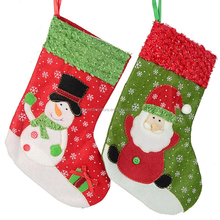 6pcs Wholesale Christmas Stockings 26cm Christmas Tree Decoration Hanging Socks Santa Claus Snowman Christmas Gifts Socks