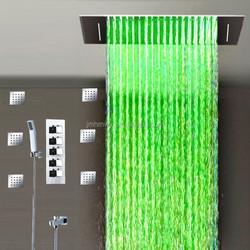 Hydro power led rainfall waterfall shower set dual function shower set 360*500mm square shower sets massage shower sets
