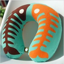 customized plush car neck pillow/sublimated print U shape traveling pillow filling with micro polystyrene beads