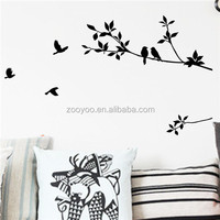 ZOOYOO black birds and leaves stickers beautiful nature animal wall stickers real lovely artistic vinyl wallpapers (8171)