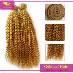 Factory wholesale blonde kinky curly weave, grade 7A honey blonde curly weave hair