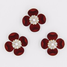 china product rhinestone pearl 27mm red flower acrylic hair jewelry P02828