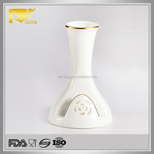 White gold rim flower vase stand, decoration vase, napkin ring with vase