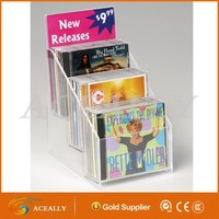 Acrylic CD Holder 3 Tiered with Sign Holder