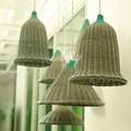 novo design de artesanato de vime italiano máscaras de lâmpada com a cor verde no topo