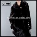 mujeres de piel de visón abrigo largo con cuello de convertir/brown fur coat/visón abrigo de piel