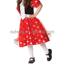 Indian Girl Cosplay Tutu Dress Short Sleeves Minnie Cute Spot Dress For Christmas Halloween Party
