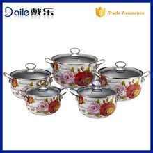 Glass cover Enamel cook ware set