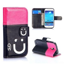 Smiling Face Pattern Flip Stand Leather Colorful Case for Samsung Galaxy S4 Mini