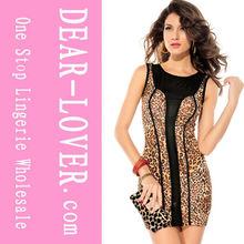 el vestido de moda de color marrón de leopardo de impresión vestido de luxe