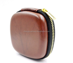 earphone leather carrying case storage bag
