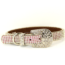 Rhinestone buckle full sparkling hot pink bling bling dog collar for pets