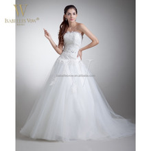 2015 China wholesale rhinestone lace wedding dresses with puffy tulle