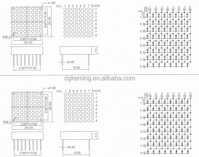 green 20x20mm dot matrix 8x8 array led dot matrix display