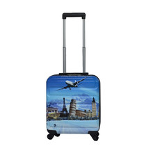 Trend of hard suitcase---laptop trolley case with ABS&PC printing in front panel and ABS in back panel