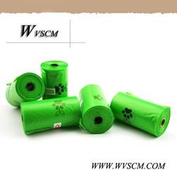 Roll pack Green color dog poop bag, poop bag dispenser for Private label make