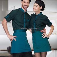 high quality waiter shirts and waiter beret cap ,hotel waiter uniform for waitress ,