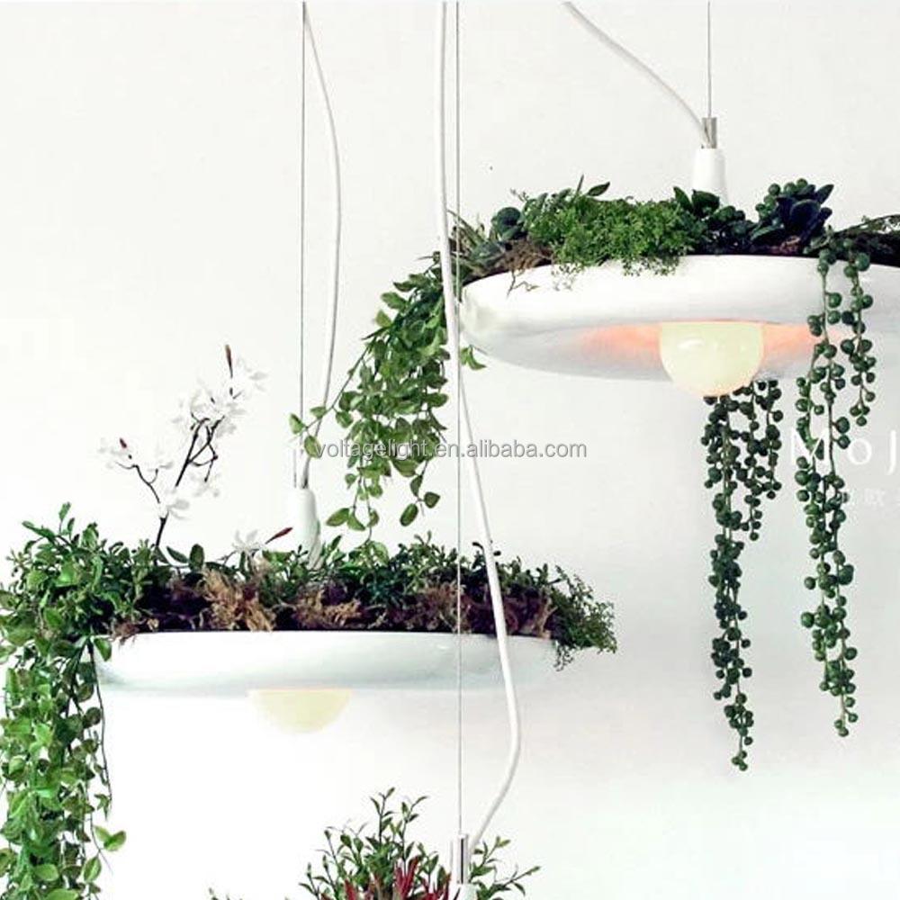 lampe suspendue d corative avec plante fra che et abat jour en aluminium bulbe led lustre id. Black Bedroom Furniture Sets. Home Design Ideas