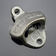Open here cast iron wall mounted bottle opener