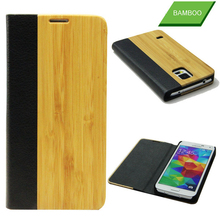 Wallet mobile cover genuine leather bamboo flip case for samsung galaxy s5