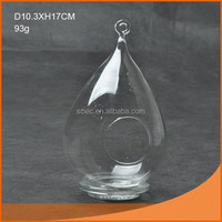 handmade tear drop hanging glass candle holder