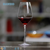 SANZO handmade the high transparency red wine glass with etched waving lines and glittery acrylic decoration