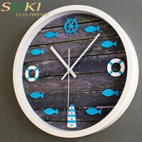 Wholesale antique clock wooden clock round wall decorative clock