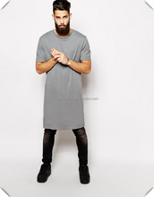 man blank long tall fashion design plain extend enlongated t shirt custom made with crew neck and refine combed cotton