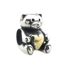 Wholesale Little Bear with a Golden Heart Genuine 925 Sterling Silver Charm for European Bracelet