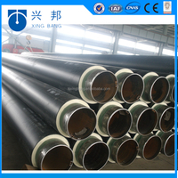 Construction materials 4inch spiral steel insulated tube with pur foam injected and iron sleeve for hot water supply