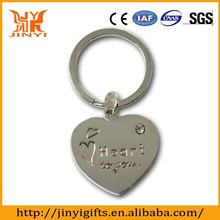Promotional heart shaped stainless steel keyring carving your logo