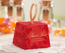 branded custom made red trapezoid sweet chocolate paper packaging box for gift