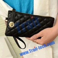 Exquisite Grid Texture Zipper lady Clutch bag ,Wallet PU Leather Handbag