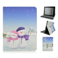New Sale Sweet Couple Snowman Stand PU Tablet Leather Case For Apple iPad 2 3 4, ipad air, ipad mini, Husband and Wife Gift