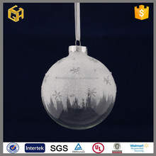High quality white christmas glass ball with glass snow ball ornaments