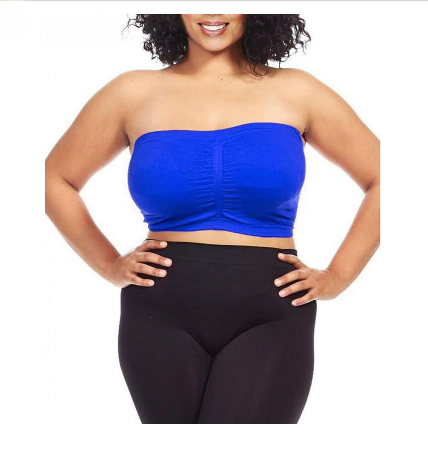 Women Plus Size Seamless Strapless Bandeau Tube Tops With ...