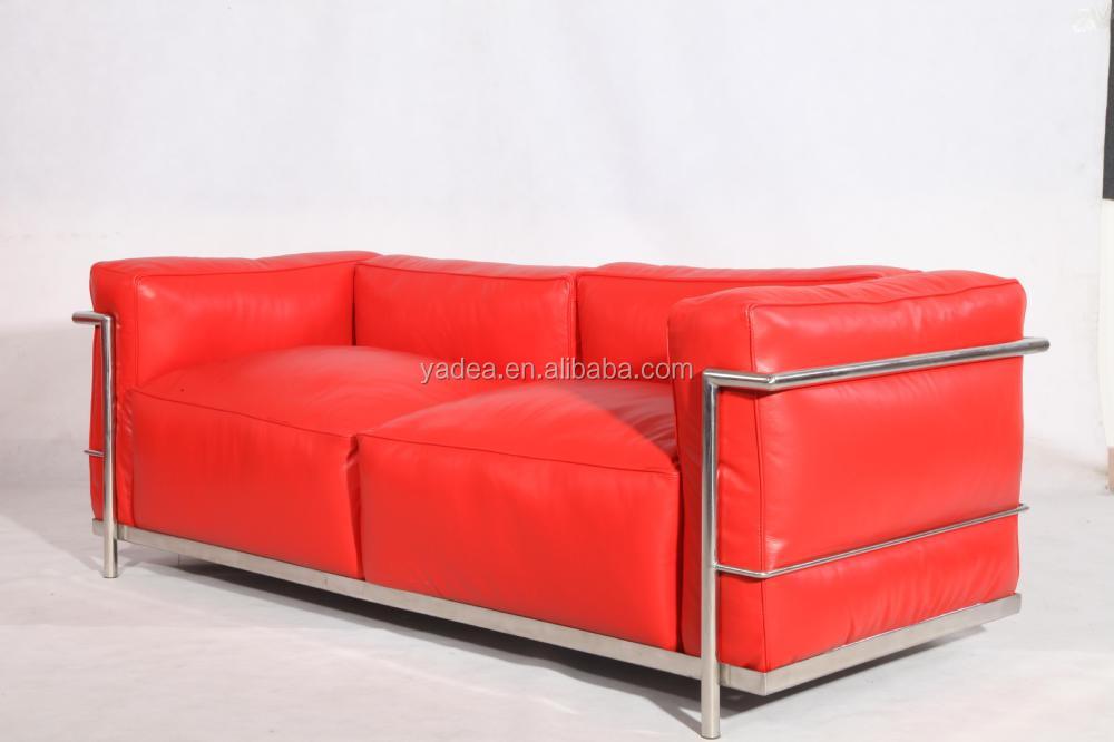 woonkamer bank 3 zits 1 2 luxe vintage leer le corbusier sofa lc3 ...